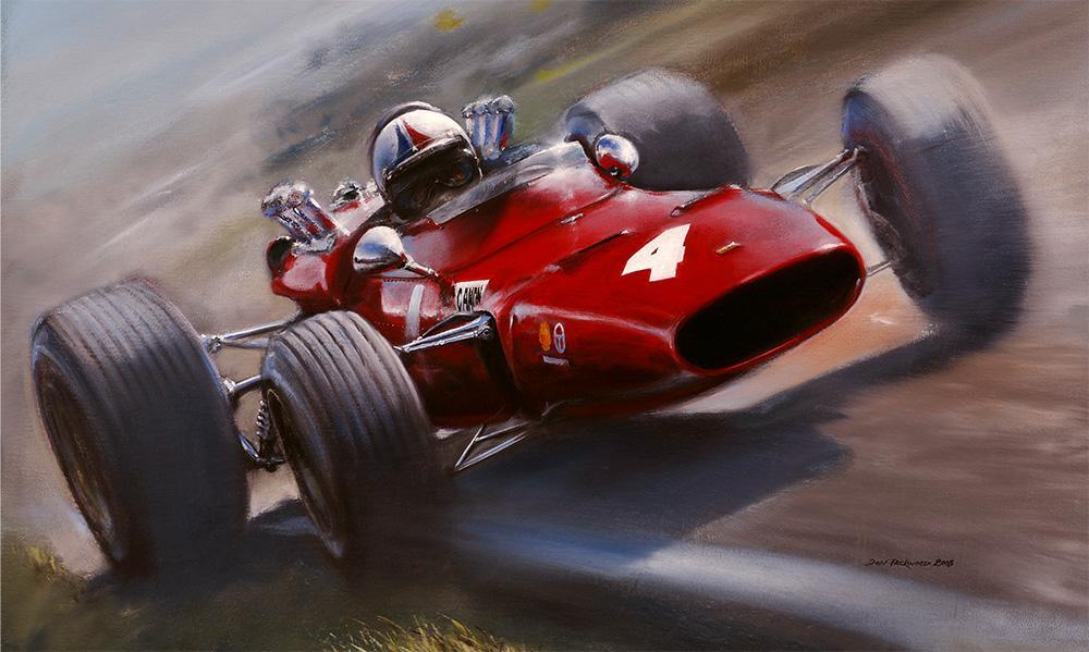<p>Winner 1968 NZ GP, Pukekohe Park Raceway, New Zealand. Ferrari Dino V6 F2.<br /> Original oil painting.</p>