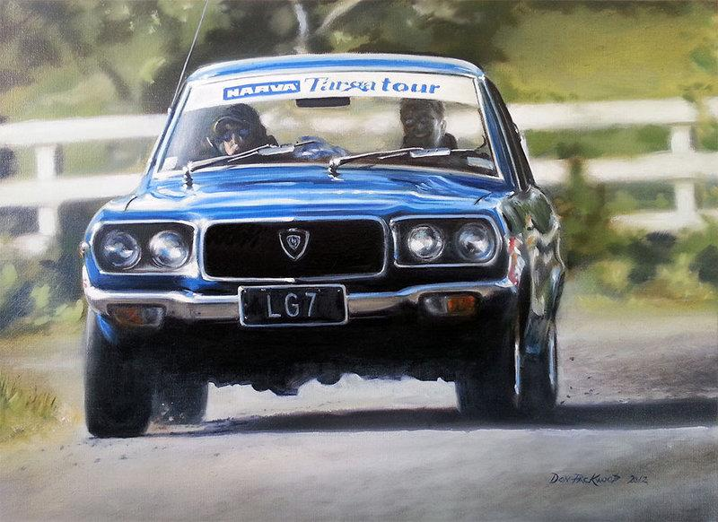 <p>1973 Mazda RX3 on the 2002 Targa Tour, New Zealand.<br /> 	Original Oil Painting.</p>