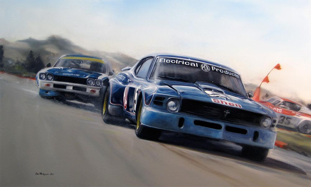 <p>Commissioned for the 250th Issue of New Zealand Classic Car magazine. The mighty PDL Mustang of Leo Leonard's in battle with Paul Fahey in the Cologne Capri and eventual winner, January 1975 Lady Wigram meet. Original oil painting.</p>