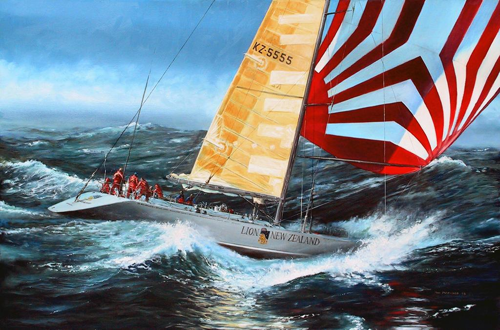 <p>Lion New Zealand during the Whitbread Round the World Race, 1985-86 skippered by Sir Peter Blake (sponsored by the Lion Brewery).<br /> Original Oil Painting.</p>