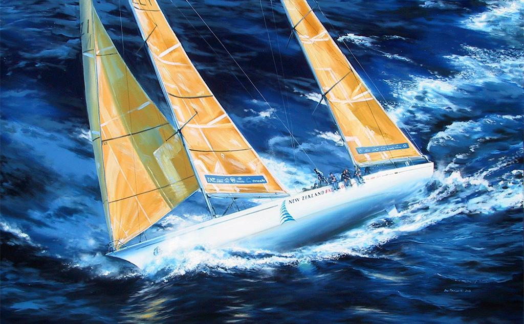 "<p>Whitbread Maxi ""New Zealand Endeavour"", the 1993-94 winner of the Whitbread Round the World Race (Now known as the Volvo Ocean Race) skippered by Grant Dalton.<br /> Original Oil Painting.</p>"
