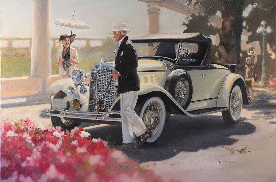 <p>1931 Chrysler CM6 Roadster. Painting inspired by the Napier Art Deco Event 2012, New Zealand.</p> <p>Original Oil Painting.</p>