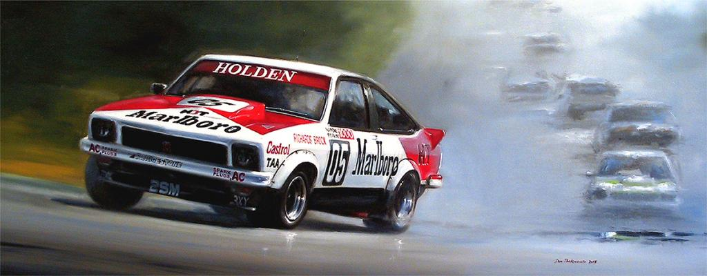 <p>Peter Brock / Jim Richards<br /> 	Holden Torana A9X SS. 1979 Hardie-Ferodo 1000<br /> Original oil painting.</p>