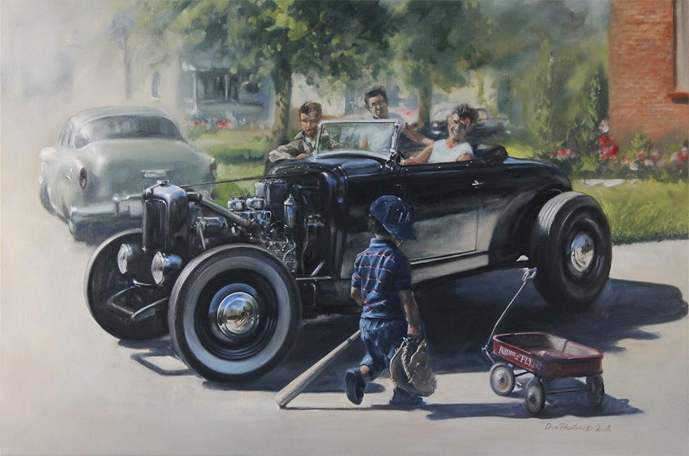 <p>A look back to the good old days of hot rods, little red wagons and baseball heroes. A time when you could put a car together in your back yard, flathead V8's and a bunch of body parts.<br /> Original Oil Painting.</p>