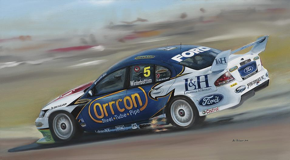 <p>Australian 2008 V8 Supercar Series.<br /> Original Oil Painting.</p>