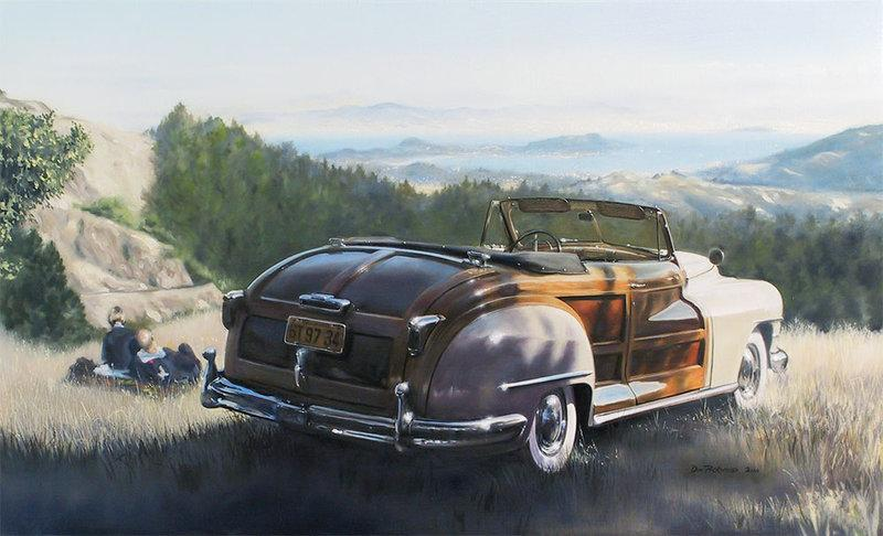 <p>1947 Chrysler Town & Country (Woody) Convertable.</p> <p>This was Chrysler's top-of-the-line vehicle and the pinnacle of postwar glamour. Original Oil Paintnig.</p>